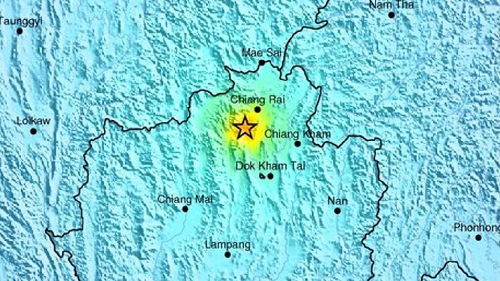 NÆR GRENSEN: Jordskjelvet hadde sitt episenter 32 kilometer sørvest for byen Chiang Rai, ikke langt fra grensene til Myanmar og Laos.