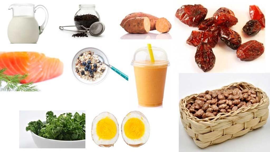 SUNT OG GODT: Skummet melk, svart te, søtpotet, tranebær, laks, havregryn, mangoshake, pintobønner, grønnkål og egg.