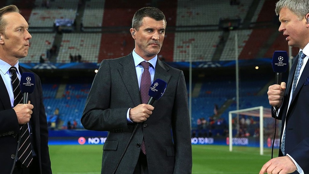ITV presenter Adrian Chiles (right) with pundits Roy Keane (centre) and Lee Dixon during the post match analysis