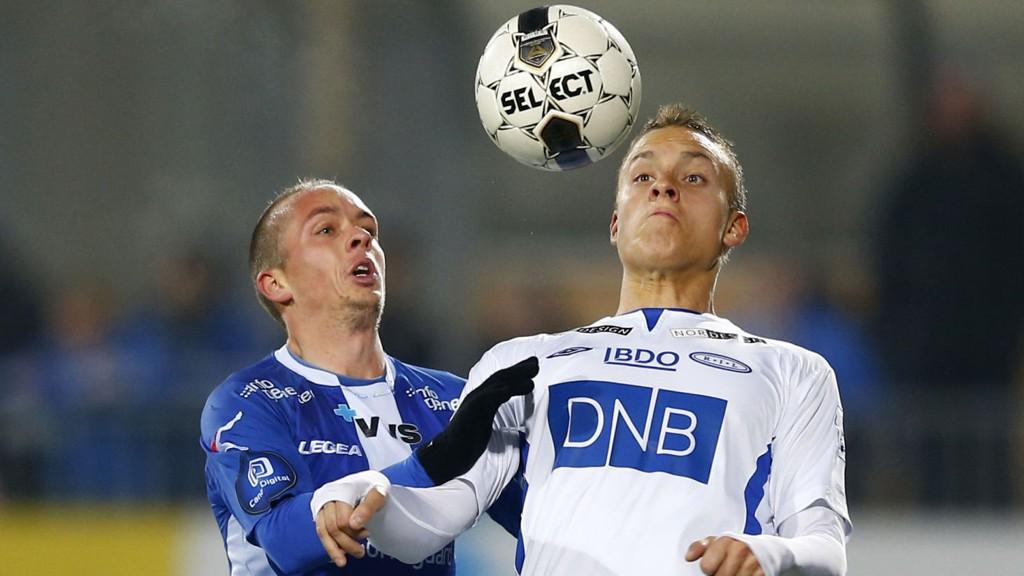 Ranheims Jo Sondre Aas (til høyre) scoret sitt første mål for sesongen i 3-0-seieren over Kristiansund sist.