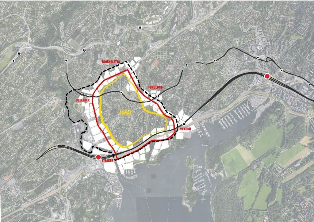 Fortetting langs prioriterte veier som blir oppgradert til sammenhengende gater og byrom. Skisse. Dark arkitekter og Adept
