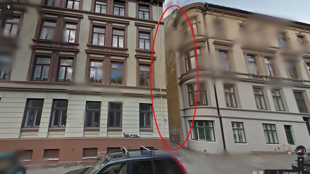 TRANGT: Her mellom disse to bygårdene skal det angivelige borettslaget være plassert.