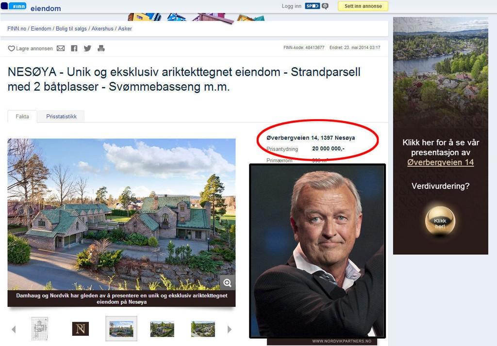 Hallvard Flatlands flotte hus på Nesøya er lagt ut for salg igjen, etter at han ikke fikk solgt det til ønsket pris i forrige runde. Nå har han gått ned fem millioner i pris.