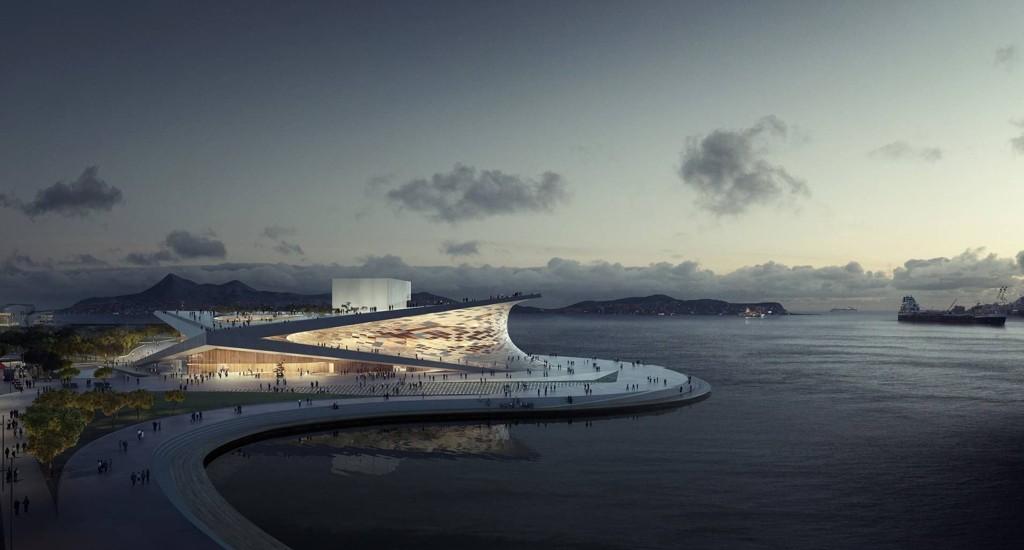 STORT OG HVITT: Store hvite flater der folk kan nyte fjorden. Høres det kjent ut? Nå skal Snøhetta tegne ny opera i Sør-Korea.