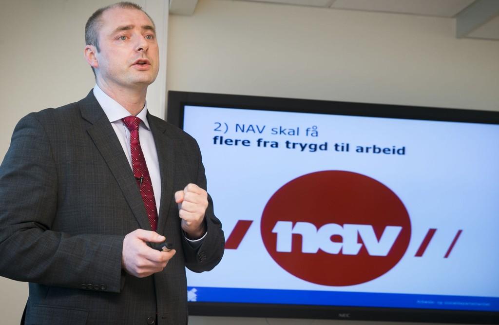Arbeids- og sosialminister Robert Eriksson kankonstatere at tre av fire brukere er fornøyd med Nav.