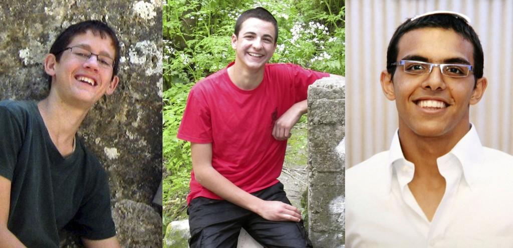 De tre bortførte tenåringene, fra venstre til høyre: Naftali Frenkel (16), Gilad Shaar (16) og Eyal Yifrach (19).