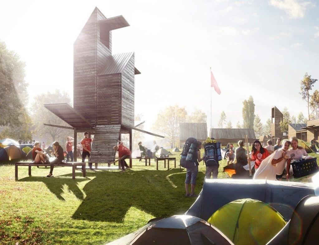 SLIK KAN DET BLI: Illustrasjonen viser hvordan AUF vil bygge en landsby på Utøya.