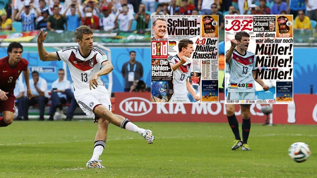 MÜLLER-RUS: Tyske aviser hyller Thomas Müller etter at han scoret tre mål mot Portugal mandag.