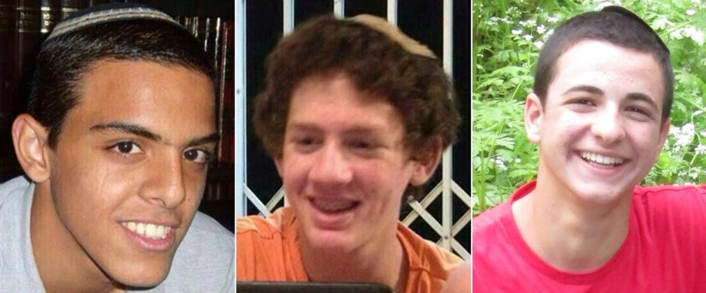 De tre bortførte tenåringene, fra venstre til høyre: Eyal Yifrach (19), Naftali Frenkel (16) og Gilad Shaar (16).