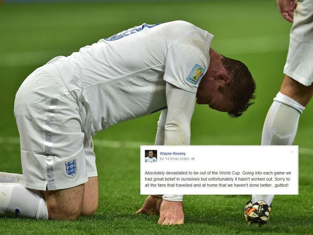 SKUFFET: Wayne Rooney ber om unnskyldning til fansen på Facebook etter at de allerede har røket ut av VM.