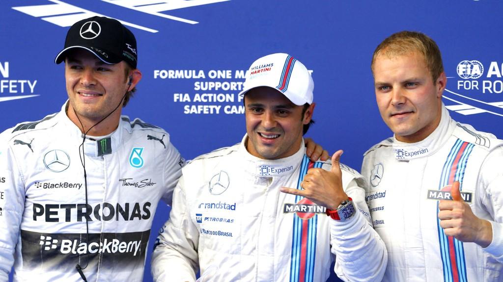 RASKEST: Felipe Massa (i midten) var best i kvalifiseringen foran lagkompis Valtteri Bottas (høyre) og Nico Rosberg.