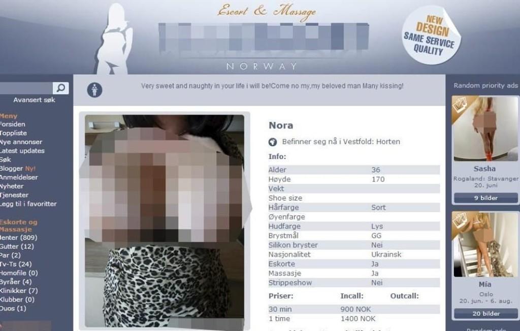Faksimile fra annonse, prostituerte