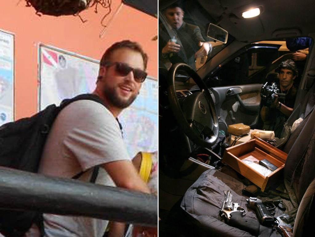 FEM KRONER: Magnus Michaelsen (til venstre) ble ranet i Brasil like før fotball-VM. Han forteller at skytevåpen kan leies for drøyt fem kroner dagen. Bildet til høyre viser konfiskerte skytevåpen og narkotika i førersetet av en bil.