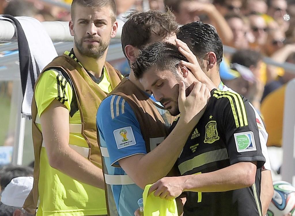 GRÅT: David Villa scoret i sin siste landskamp for Spania.