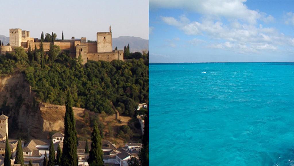 FEIL GRENADA: Til venstre ser man den spanske byen Granada, dit amerikanske Edward Gamson egentlig skulle på ferie. Til høyre ser du Karibien, hvor han havnet. Begge foto: Wikimedia Commons