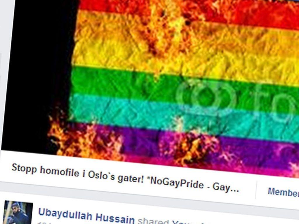 Ubaydullah Hussain og Facebook-siden Stopp homofile i Oslos gater.