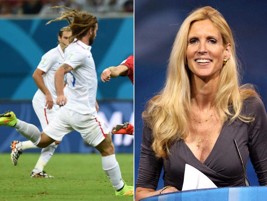 18 millioner amerikanere så på kampen mellom USA og Portugal (til venstre). Den konservative spaltisten Ann Coulter (til høyre) mener den økte interessen er tegn på «nasjonens moralske forfall».
