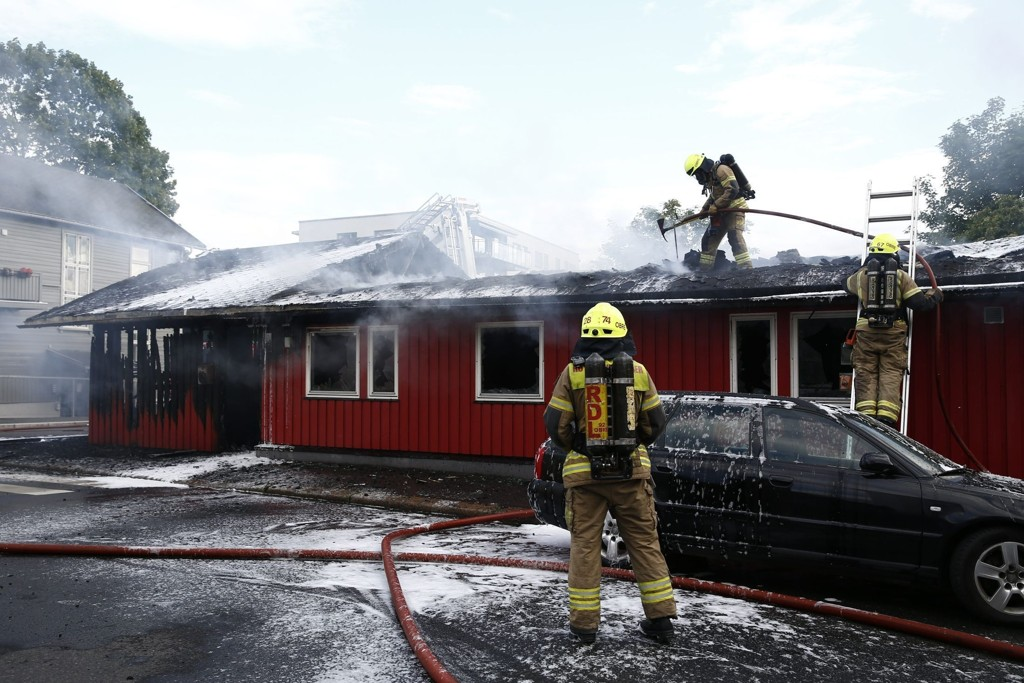 BRANT: Deler av Rosenhoff barnehage i Oslo ble totalskadd i en brann onsdag. Foto: Erlend Aas / NTB scanpix