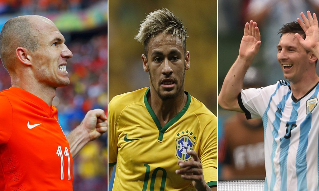 ALLE MED: Både Arjen Robben, Neymar og Lionel Messi har imponert så langt i VM, og belønnes alle med plasser i ekspertenes foreløpige drømmeellevere.