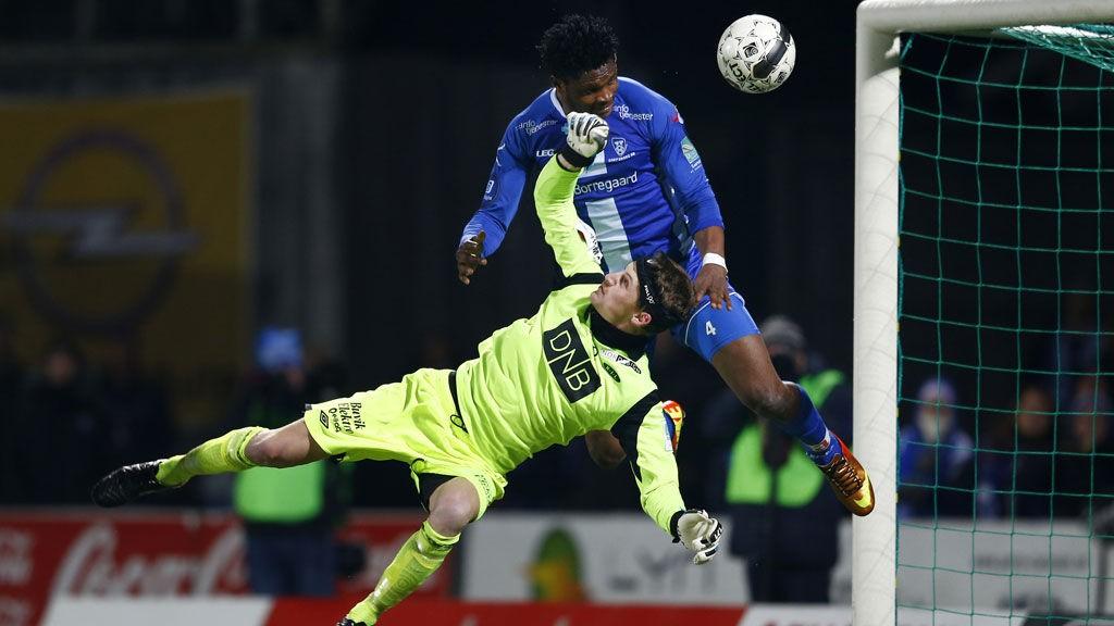 Sarpsborg-spissen Aaron Samuel Olanare har tidvis herjet med motstpillerne denne sesongen.