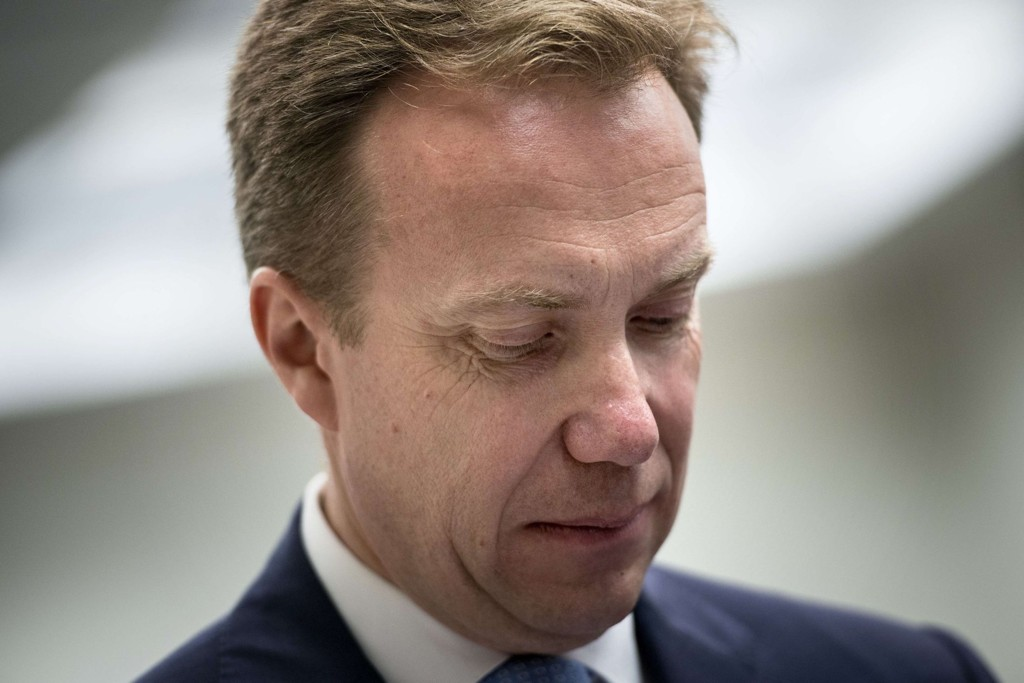 CORRECTION-NAME Norway's Minister of Foreign Affairs Børge Brende waits to speak at the Brookings Institution June 16, 2014 in Washington, DC. AFP PHOTO/Brendan SMIALOWSKI