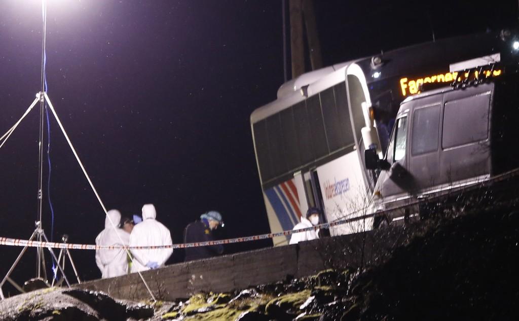 Teknikere fra Kripos i arbeid ved bussen fra Valdresekspressen på Rv 53 ved Holsbru mellom Årdal og Tyin, der tre personer ble knivdrept i november i 2013.