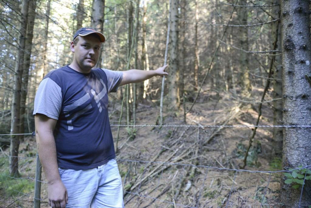 SKREMT: - Jeg løp alt jeg kunne vekk fra dyret, sier Rolandas Plucas som jobber på Ruken gård i Trøgstad.