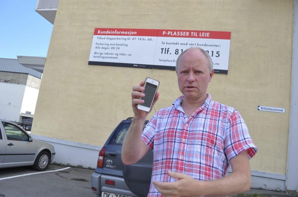 MÅ BETALE: Erland Flaten får ikke ettergitt parkeringsboten, selv om han kan vise til kvittering på at avgiften var betalt gjennom mobilappen EasyPark.