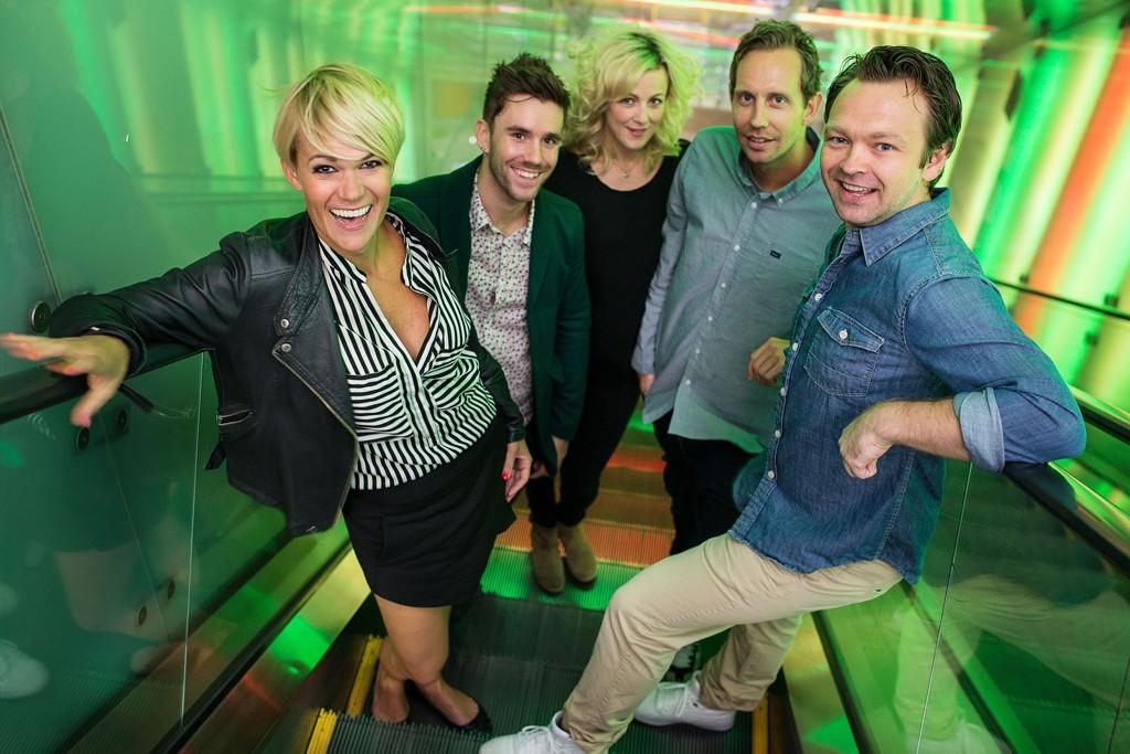 HVEM SKAL UT: TV 2 pusser opp «Torsdag kveld fra Nydalen». Her er Sigrid Bonde Tusvik (f.v.), Stian Blipp, Marian Saastad Ottesen, Morten Ramm og John Brungot.