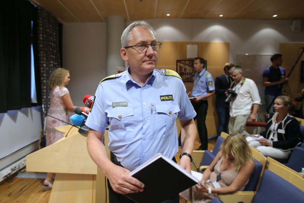 HUMLEGÅRD: Politidirektør Odd Reidar Humlegård under pressekonferansen på Politidirektoratet i Oslo fredag ettermiddag.
