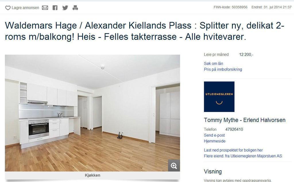 Denne toroms leiligheten ligger sentralt til på Alexander Kiellands Plass i Oslo, og har en månedsleie på 12 200 kroner.