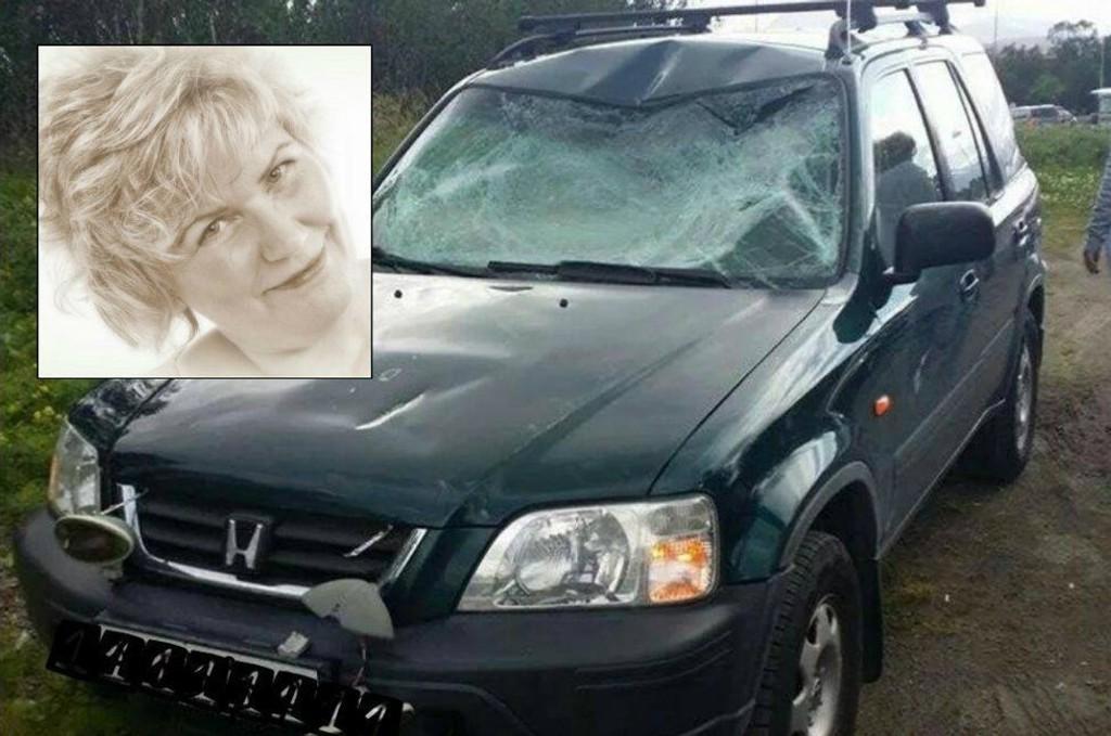 KONDEMNERES: Bilen til Fay Gabrielsen blir nok etter all sannsynlighet kondemnert etter at en takboks kom flygende rett i frontruta hennes.