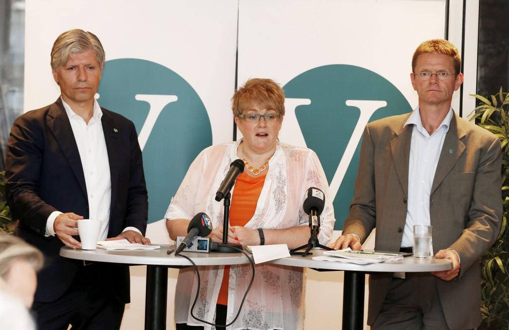 Venstre krever økte miljøavgifter på til sammen 7,5 milliarder kroner. På bildet: Partileder Trine Skei Grande og nestlederne Ola Elvestuen (til venstre) og Terje Breivik.