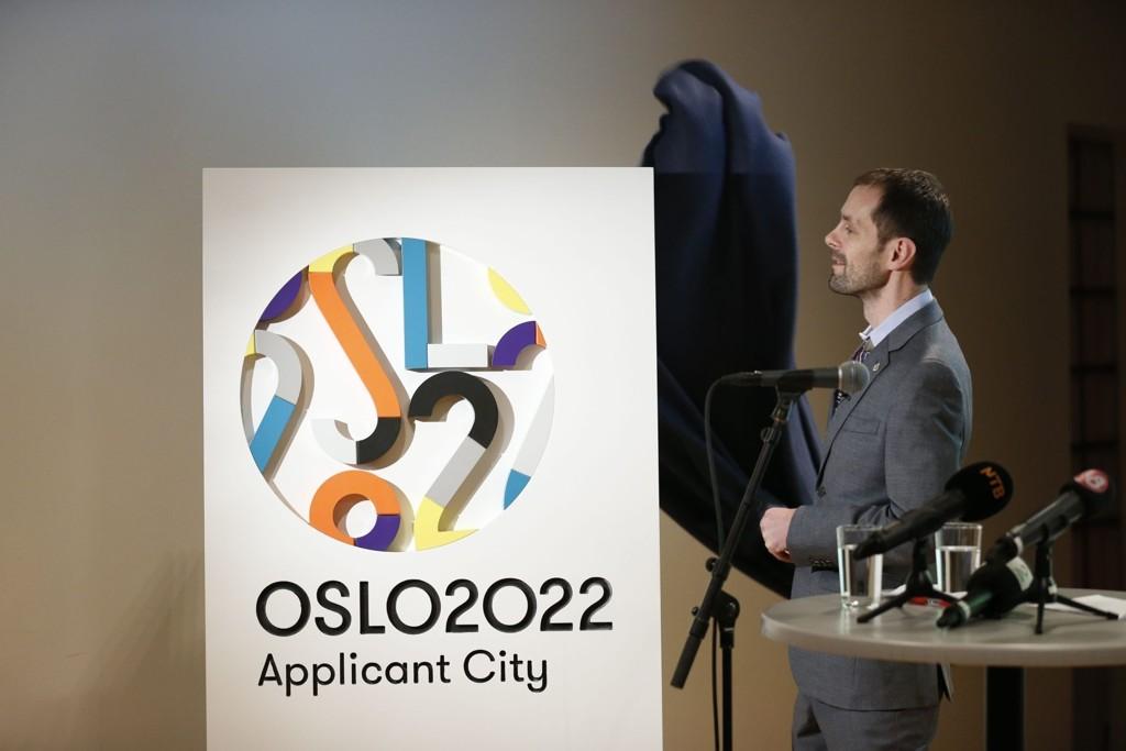Byråd for kultur og næring, Halstein Bjercke under presentasjonen av logoen for OL i Oslo 2022.