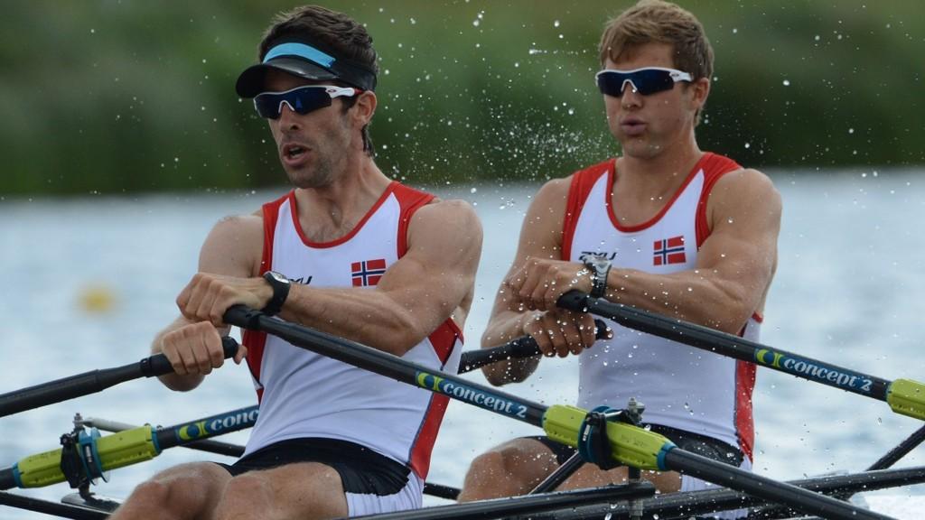 Tittelforsvarerne Kristoffer Brun og Are Strandli rodde inn til VM-bronse i lettvekt dobbeltsculler i Amsterdam lørdag.