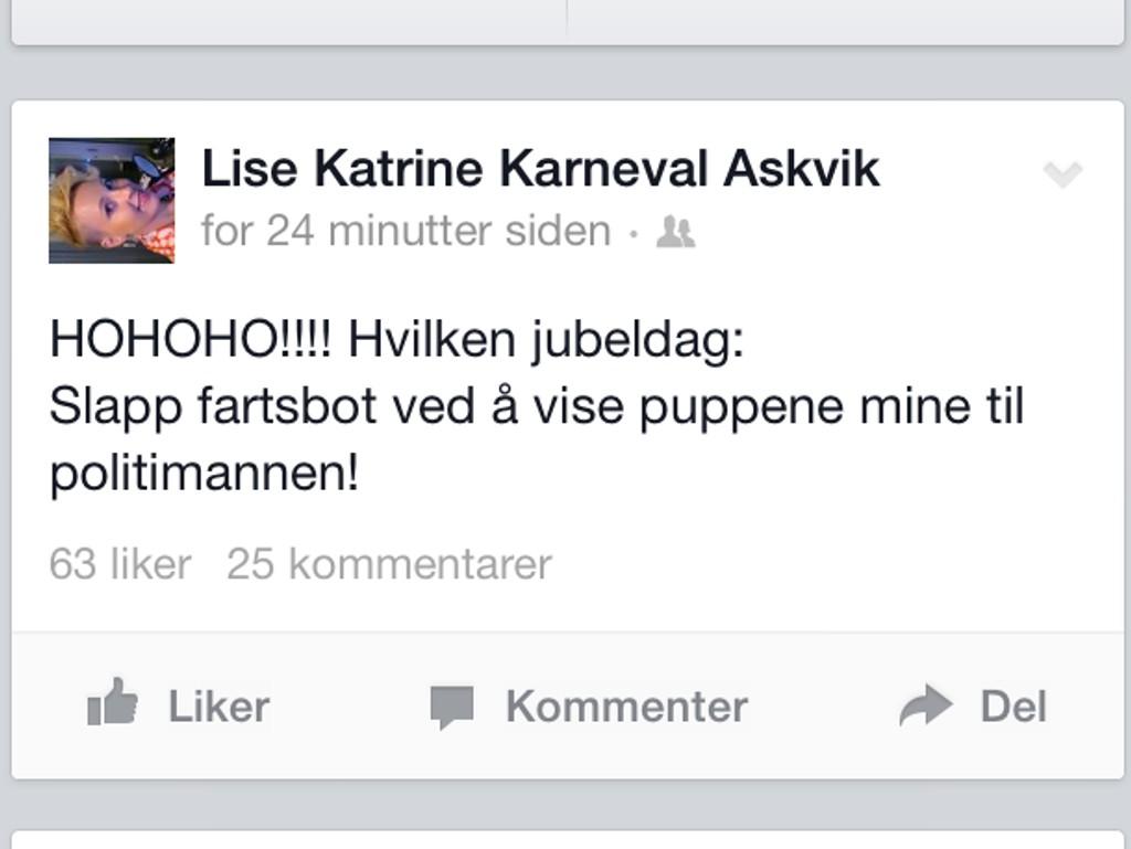 VAKTE OPPSIKT: Lise Askvik la ut denne statusen som en del av en Facebook-aksjon, som ruller og går i disse dager.