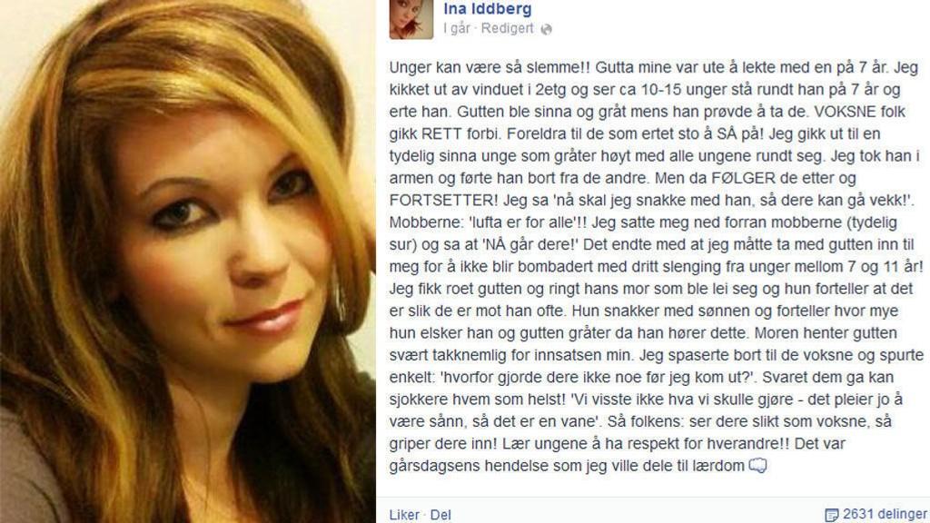 REAGERTE: Tobarnsmor Ina Iddberg fra Mjøndalen så en sju år gammel gutt bli mobbet, uten at voksne som var i nærheten grep inn. Foto: Privat/Facebook