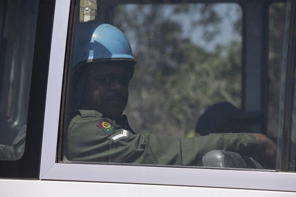 Illustrasjonsfoto: En FN-soldat fra Fiji i en buss på vei fra Golanhøyden til Syria 31. august 2014.