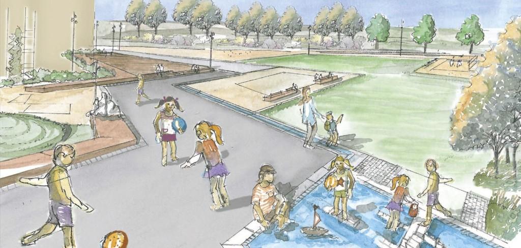 OMRÅDELØFT: Linjeparken skal innby til ulike aktiviteter og bli et godt sted å oppholde seg for alle aldersgrupper. Illustrasjon: Bymiljøetaten