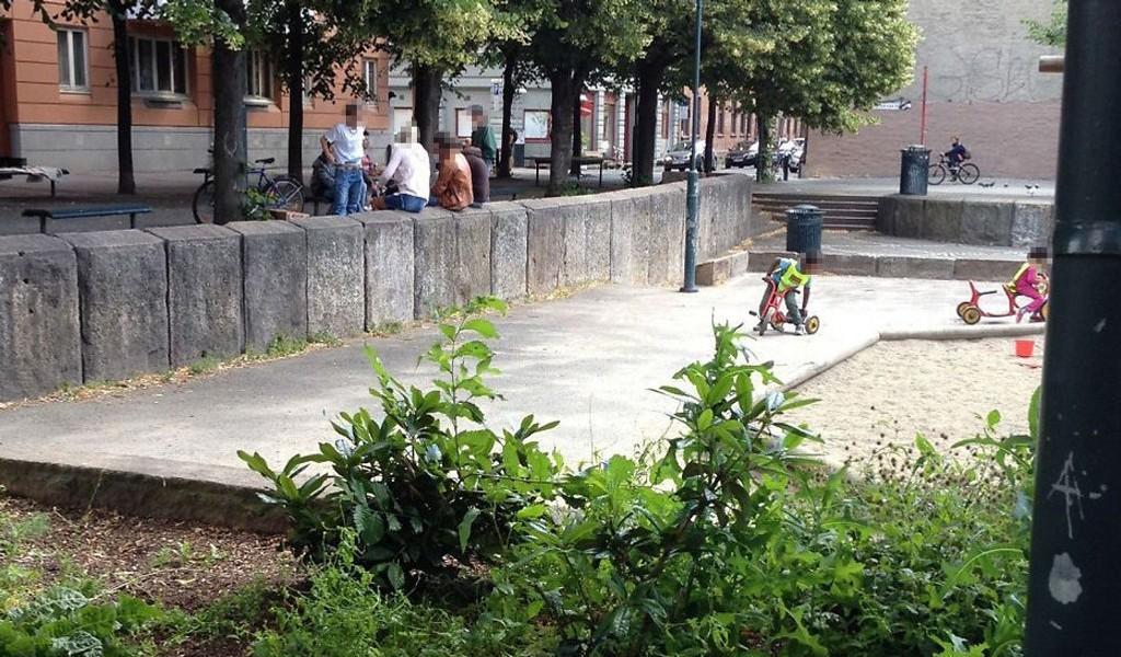 Barna sykler og leker, mens et åpent rusmiljø holder til ved samme friområde.