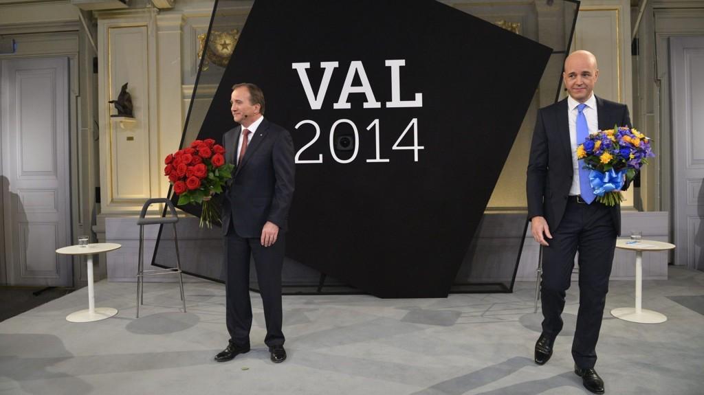 SISTE PARTILEDERDEBATT: Noe gikk galt da velgerne skulle stemme fram vinner og taper i lørdagens debatt mellom Socialdemokraternas partileder Stefan Löfven og Moderaternas partileder Fredrik Reinfeldt på TV4.