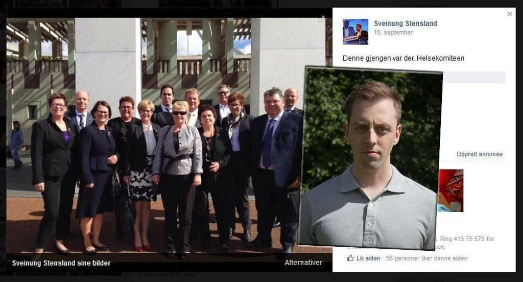 UT PÅ TUR: Her er 13 norske helsepolitikere på tur til Australia. Bildet er postet på Høyre-politiker Sveinung Stenslands Facebook-profil. SU-leder Nicholas Wilkinson (innfelt) mener pengebruken på slike turer er unødvendig stor.