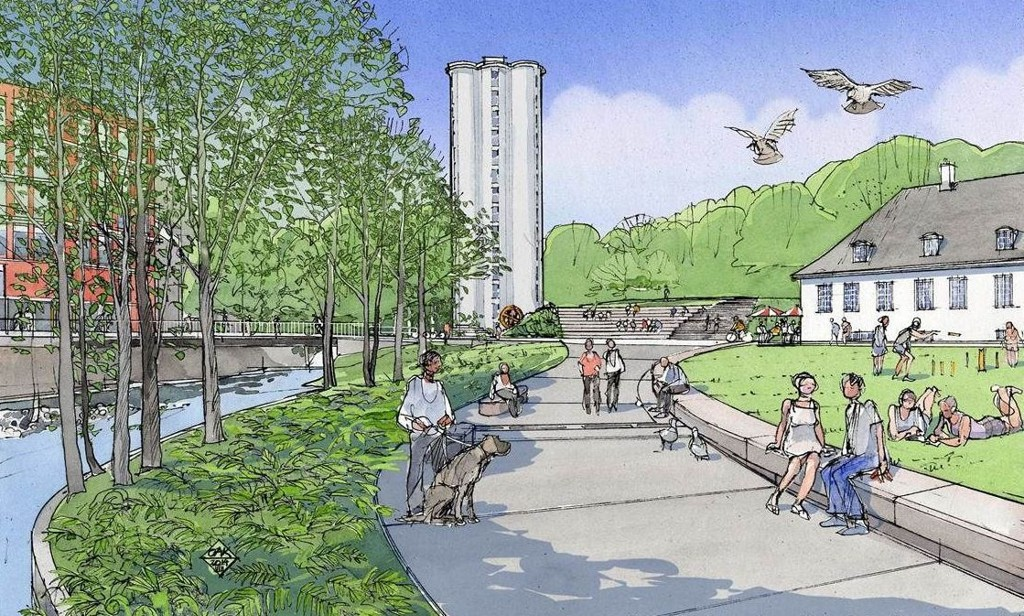 I 2017 skal parken på Nedre Foss se slik ut. I bakgrunnen er siloen på Løkka, og til høyre det tidligere Bellona-huset. På andre siden av elva ligger Mathallen.