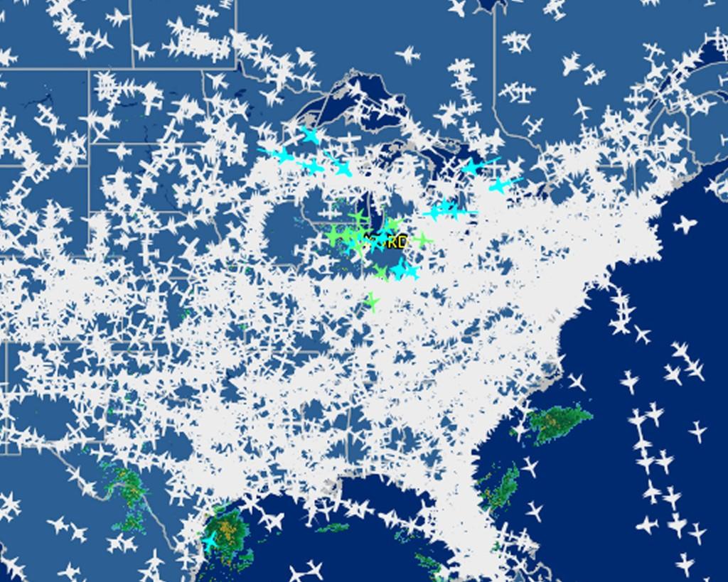 Slik så flytrafikken over USA ut etter at brannen lammet kontrolltårnet.