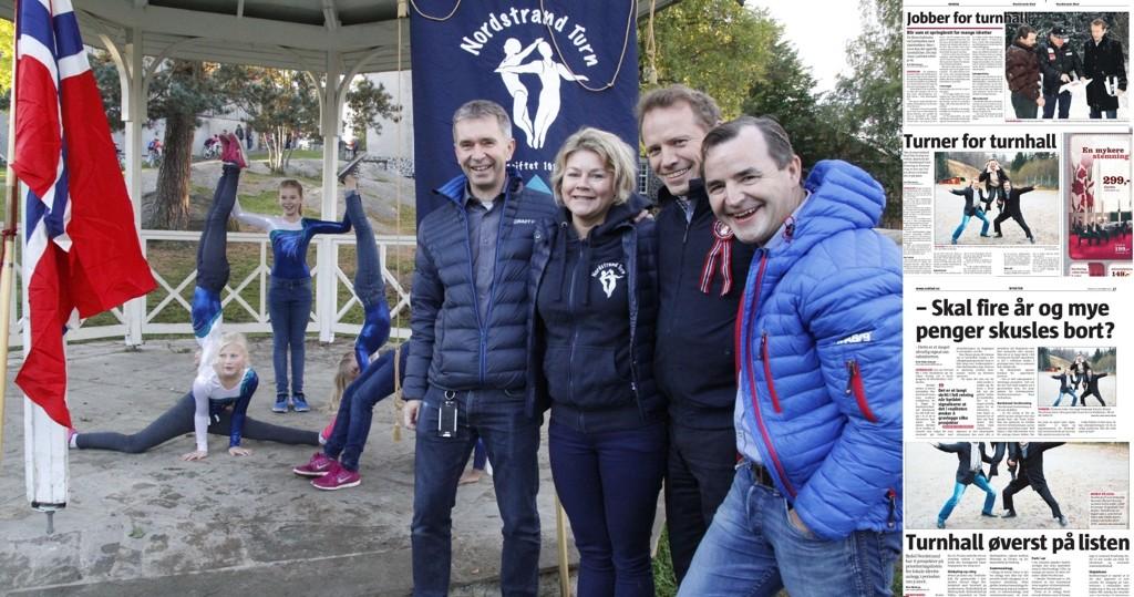 Leder i Nordstrand turnforening, Heidi Fleischer, med hallkomiteens Terje Nesjem (f.v.), Øivind Fleischer og Svein Lothe. Til høyre: FAksimiler fra Nordstrands Blad i 2008, 2009, 2010 og 2012.
