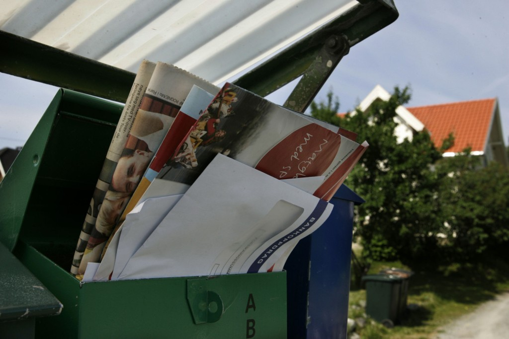 POSTKASSA: Reklame i postkassa er penger i kassa for posten.