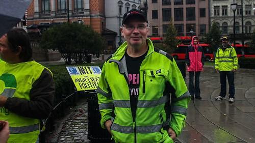 Johan Morten Nome under en demonstrasjon i regi av Bilistenes Aksjonsgruppe.