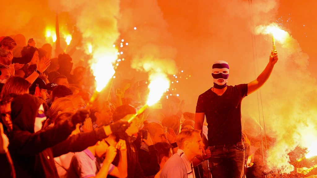 Slik var stemningen på Swedbank Stadion i Malmö i playoffkampen mot Salzburg. Vi tror fansen får en ny opptur i kveldens kamp mot Olympiakos.