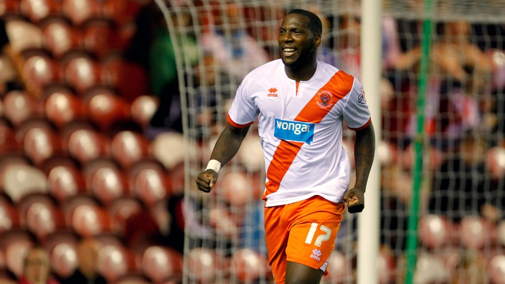 Ishmael Miller jubler for sesongen første scoring mot Middlesbrough forrige runde. Det var Blackpools femte mål på ti kamper.