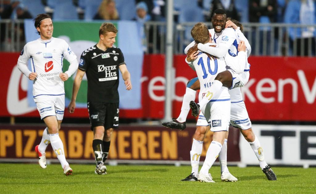 TOK TRE POENG: Haugesund kunne juble for seier og tre poeng i bunnkampen mot Sandnes Ulf på Haugesund Stadion.